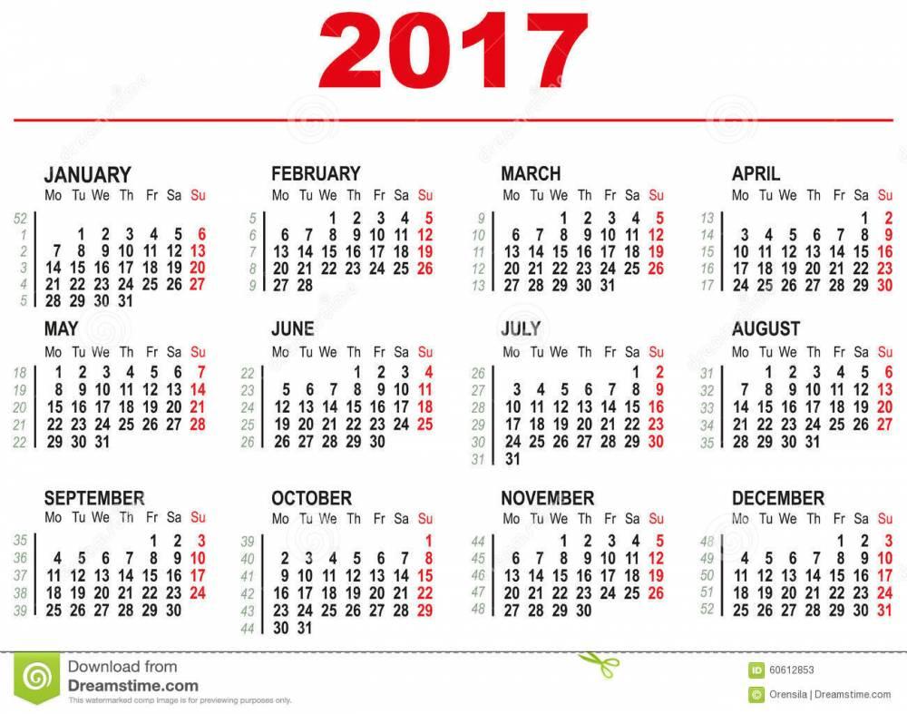 calendario inglese 2017