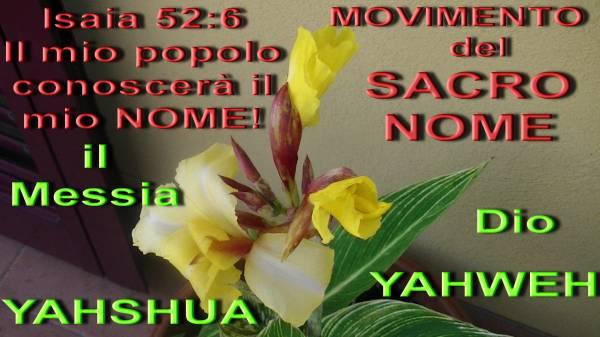 FARE CONOSCERE IL NOME DI DIO, YAHWEH