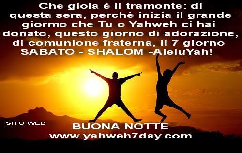 SHABBAT-SABATO, gloria a YAHWEH ELOHIM